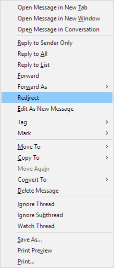 Message Context Menu